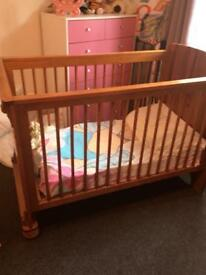 Solid wood cot and mattress