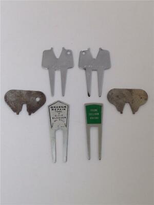 Lot of 6 Vintage Advertising Golf Divot Repair Tools - Golfaide, Cat's Paw, Etc.