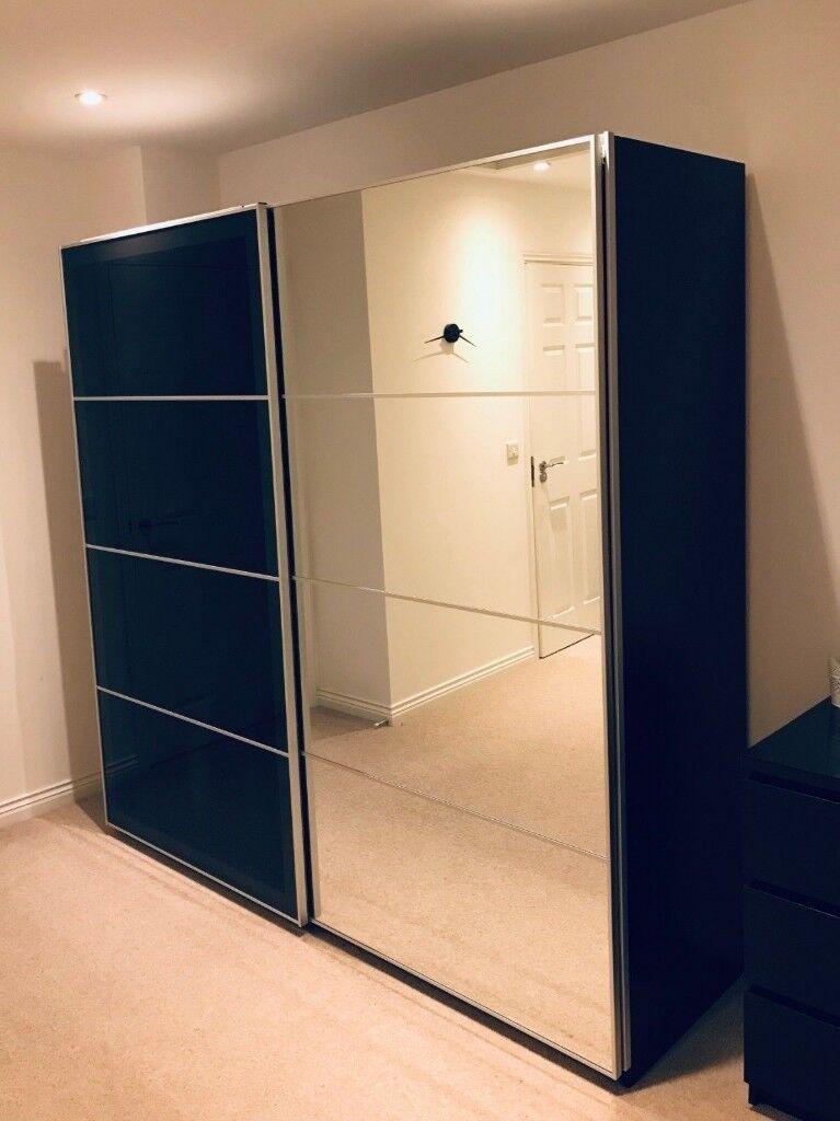 Large Ikea Wardrobe Black Brown Wood Effect Mirror And Glass
