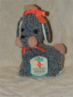 Vintage Douglas Cuddle Toys Gray Poodle Plush stuffed Original Hang Tag Ribbons