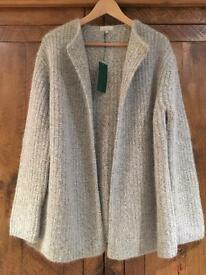 NEW WITH TAGS HOBBS ANGORA BLEND CHUNKY KNIT CARDIGAN SIZE 14
