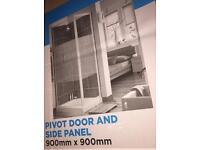 Pearlstone Shower Tray & Pivot Door & Side Panel 900x900x40mm New