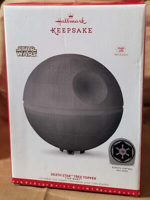"2016 Hallmark 6.3"" Star Wars Death Star Tree Topper w Remote Magic NIB ornament"