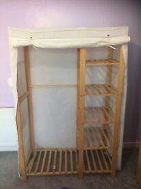 Wardrobe and shelving unit with fabric cover