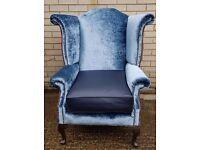 1 x Blue Chesterfield Arm Chair