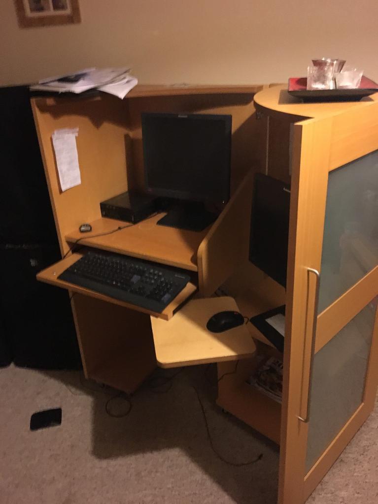 Black Folding Desk Computer Pc Laptop Table Chair Set Home Office