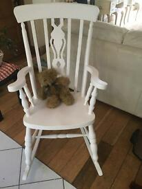 SUPER SHABBY CHIC FIDDLE BACKED ROCKING CHAIR IN SOFT WHITE