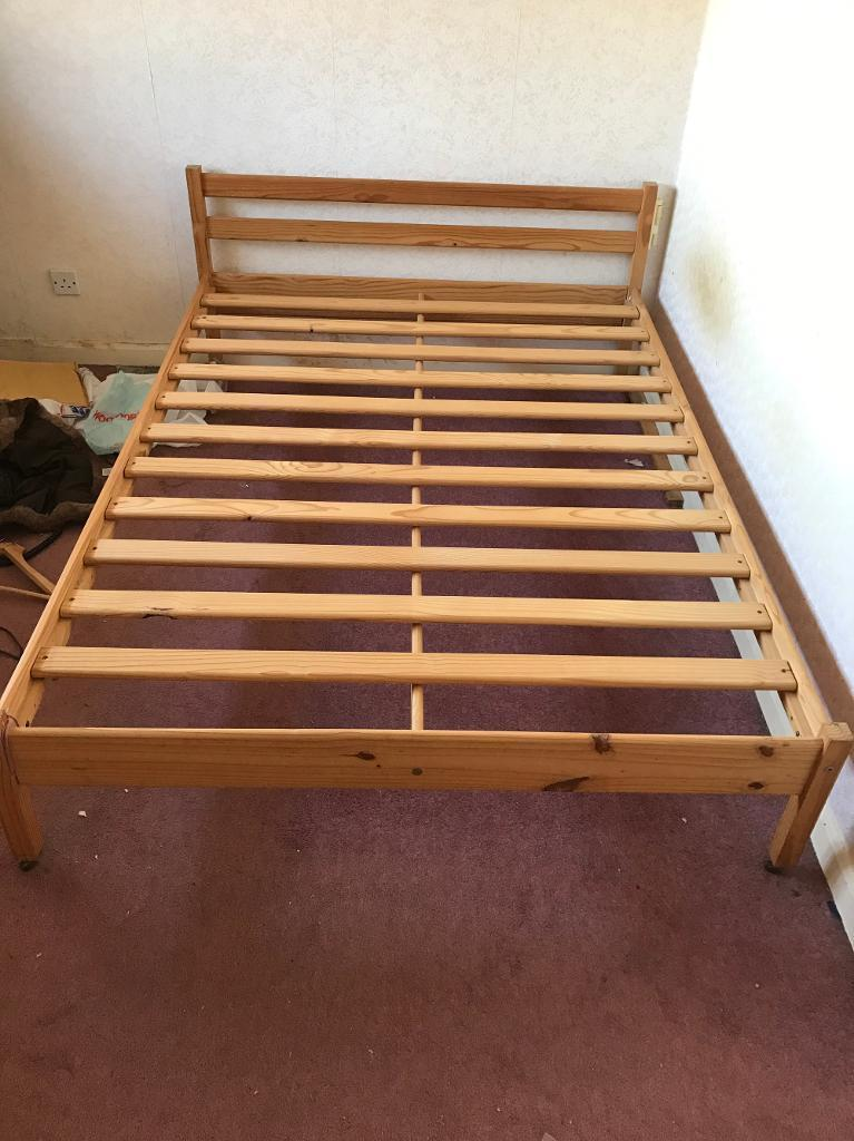 Wooden double bed bed frame