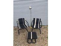 Vintage retro Danish mid century 2 x armchairs stripy black white set stool metal