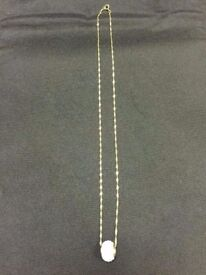 SOLID 9CT GOLD NECKLACE & DIAMOND BALL PENDANT