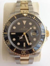 Rolex submariner two tone black face sweeping auto best model please see adverg
