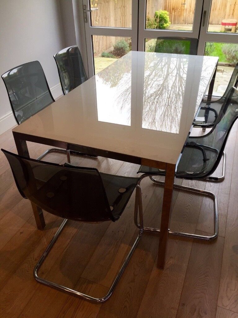 Ikea Torsby White Glass Dining Table 180x85