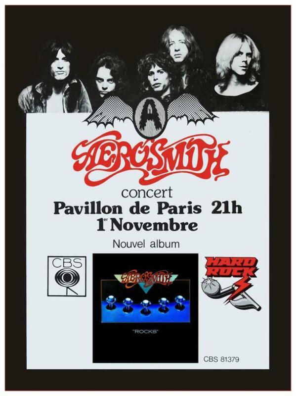 Aerosmith - POSTER - ROCKS Live Concert tour Paris France  MUST SEE Rock n Roll