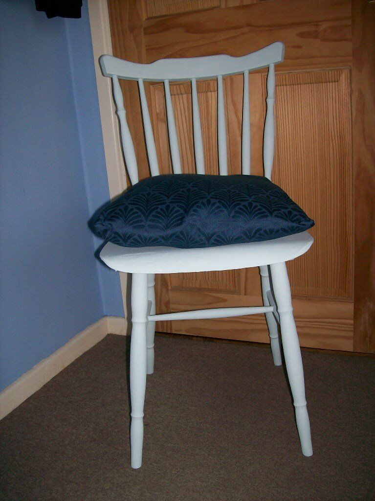 Shabby Chic Duck Egg Blue Table Dining Desk Chair With Tie Back Cushion