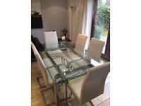 Harvey's Jarrow Glass / Chrome Extendable Dining Table