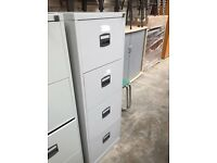 Grey 4 Drawer Filing Cabinet- Key Supplied