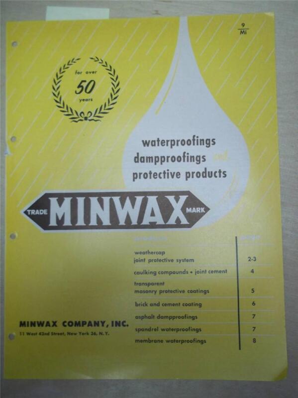 Minwax Co Catalog~Asbestos Asphalt Damproofings~1962