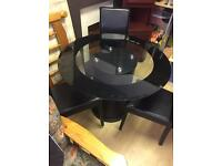 Round Black Glass Dining Table & Three Chairs