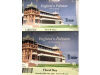 2 tickets, Cricket, England v Pakistan, Day 3