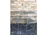 BEDSIDE SIDE END TABLES INDUSTRIAL MID CENTURY MODERN PAIR