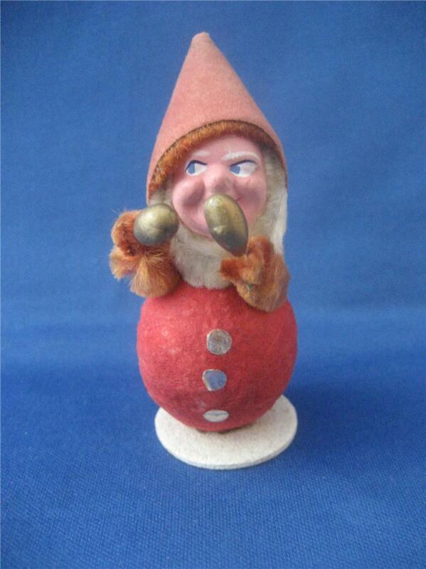 Elf Gnome Pixie Spun Cotton Body Compo Face Gold Maracas Christmas Ornament Vtg
