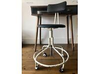 Vintage Industrial Adjustable Machinist Swivel Chair on Castors
