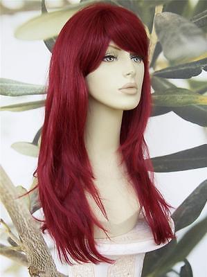 Volle Länge Damen Mode Haar Perücke Leuchtend Rot Hitzebeständig Kims Perücken