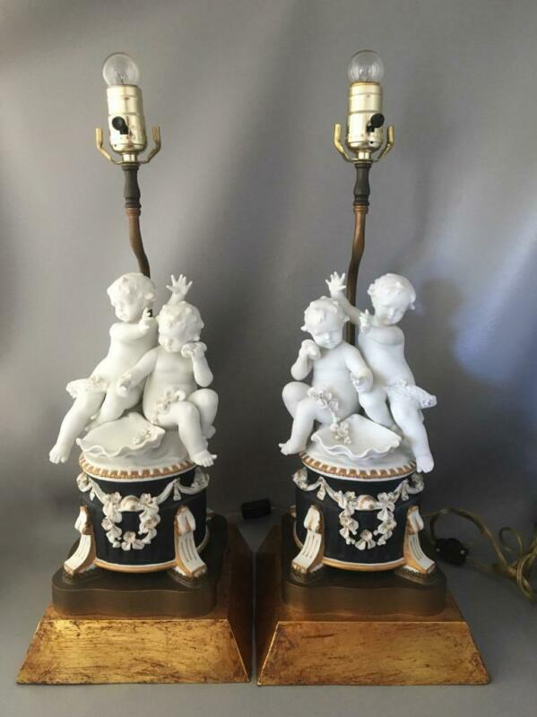 VTG ITALIAN NEOCLASSICAL GOLD WOOD & PORCELAIN CHERUBS w FLOWERS TABLE LAMP PAIR