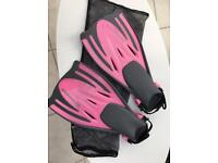 Pink typhoon fins snorkelling swimming adult S/M UK 5-7