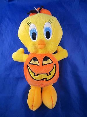 1999 Plush Bean Bag Warner Bros Tweety In a Pumpkin Halloween Costume 8