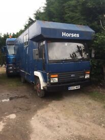 Ford cargo horsebox , no mot has a sound engine brand new battery and had new floor 18 months ago