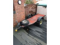 MOTORCYCLE TRAILER MINI ALLOY WHEELS AND PLATFORM INCLUDED