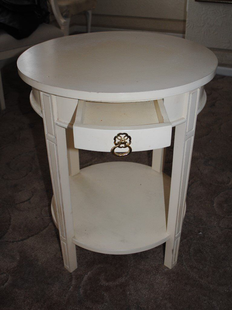 Small White Round Bedside Table With Drawer In Woodford