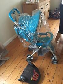 Blue combi dash stroller rain cover buggy board