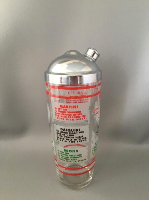 VTG MID CENTURY RETRO CHROME & GLASS COCKTAIL SHAKER DRINK RECIPES MIXER BARWARE
