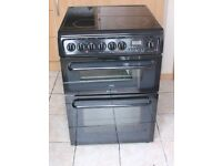 6 MONTHS WARRANTY Black Hotpoint 60cm, double oven electric cooker FREE DELIVERY