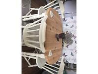 Solid pine shabby chic table and 4 chairs REDUCED