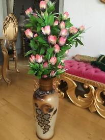 Ornate large vase with flower bunch rococo floor vase