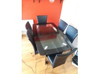 £350 DOUBLE-TIERED GLASS TABLE +6 LEATHER CHAIRS HAGGERSTON AREA