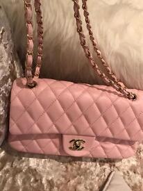 Pristine new Chanel classic bag baby pink handbag gold hardware
