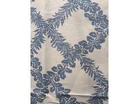 Designer Luxury Fabric Remnant - Blue Leaf Print (1m 47cm) BATTERSEA COLLECTION