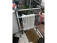 Traditional Victorian heated towel/bathroom chrome and cast iron radiator