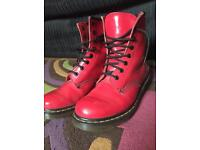 Dr Martens Delaney Patent Boots, Red. Size 5