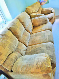 3 seater sofa and 2 arm chairs (1 reclining) in gold patterned chenile – £200