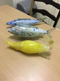 3 glass ornament fish