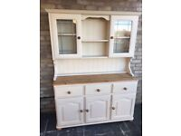WELSH DRESSER SOLID PINE FARMHOUSE COUNTRY STYLE RUSTIC GLASS DOORS