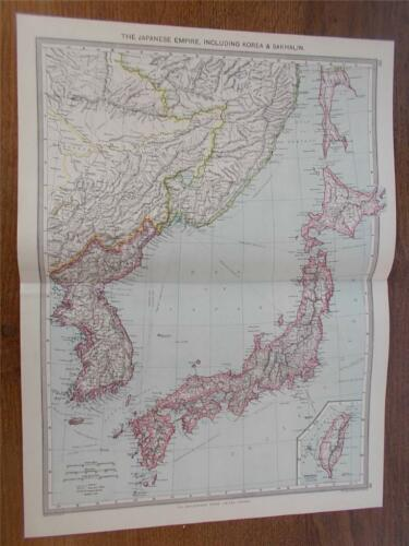 Antique c1904 Colour Map of THE JAPANESE EMPIRE KOREA & SAKHALIN HARMSWORTH