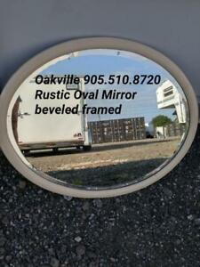 "Oakville 32x26"" Antique Oval Bevelled Round Mirror Vintage Cottage Country Rustic Decor Solid"