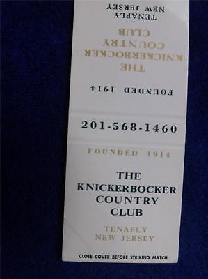 THE KNICKERBOCKER GOLF COUNTRY CLUB TENAFLY NJ MATCHBOOK VINTAGE SOUVENIR
