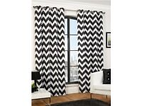 Full length Dark Grey Chevron Eyelet Curtains